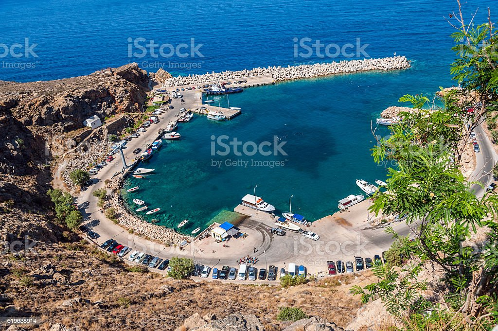 Aerial view on small fishing port of Chora Sfakion town stock photo