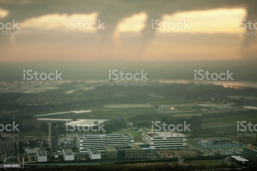 aerial view on suburbs of Dusseldorf Germany stock photo