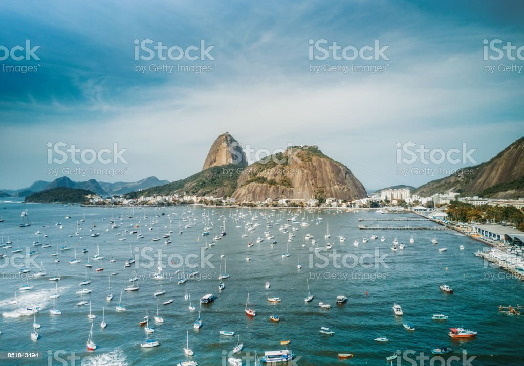 aerial view on sugar loaf mountain in Bay of Rio de Janeiro stock photo