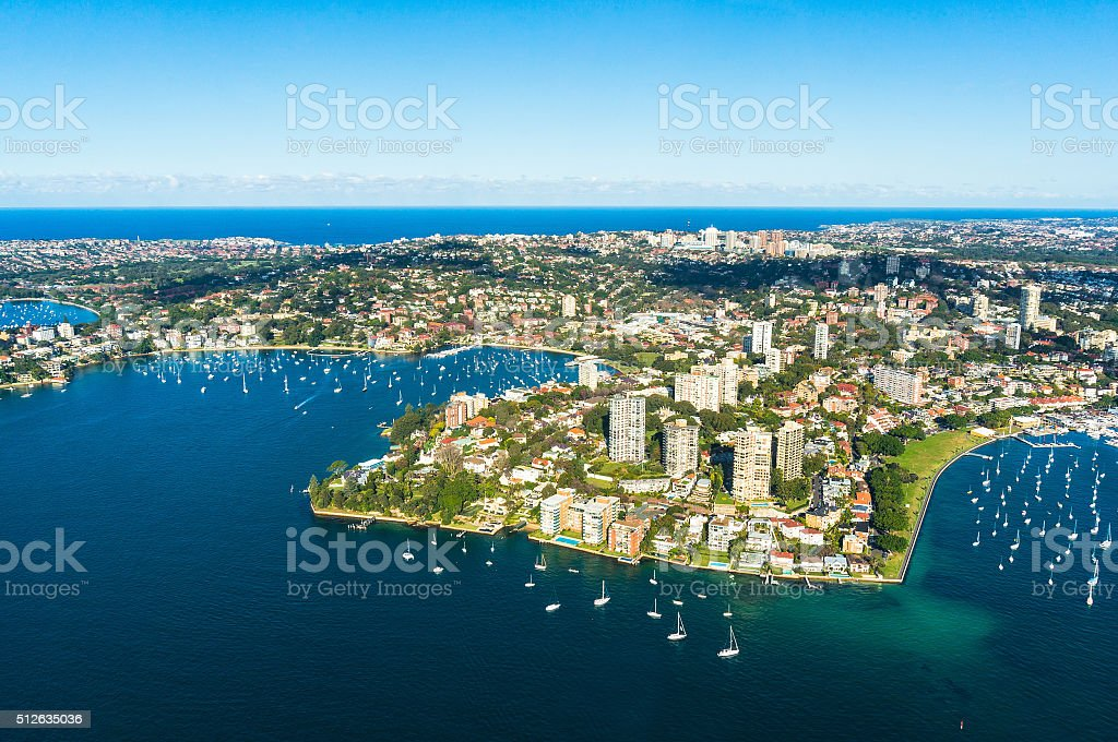 Aerial view on Sydney, Double bay harbourside area stock photo