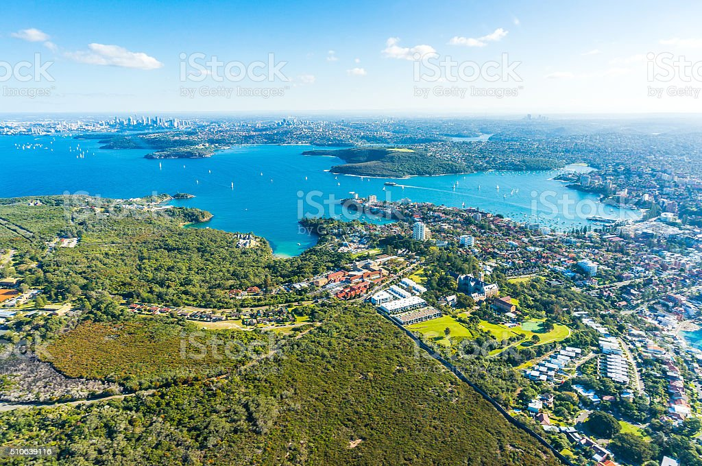 Aerial view on Sydney, Manly and Parramatta stock photo