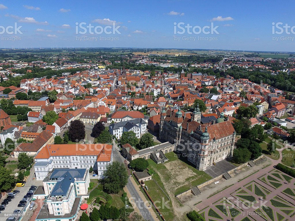 aerial view on the castle and castle park in gustrow stock photo