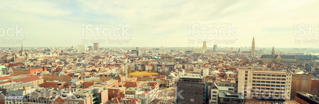 Aerial view on the center of Antwerp, Belgium stock photo