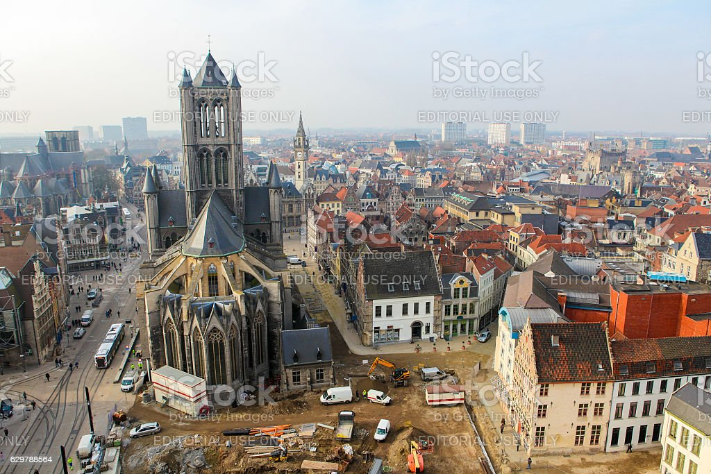 Aerial view on the center of Ghent, Flanders, Belgium stock photo