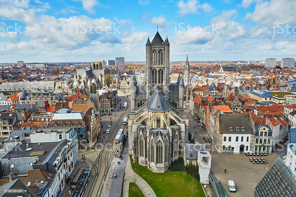 Aerial view on the center of Ghent stock photo