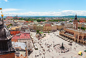 Aerial view on the central square and Sukiennice in Krakow.
