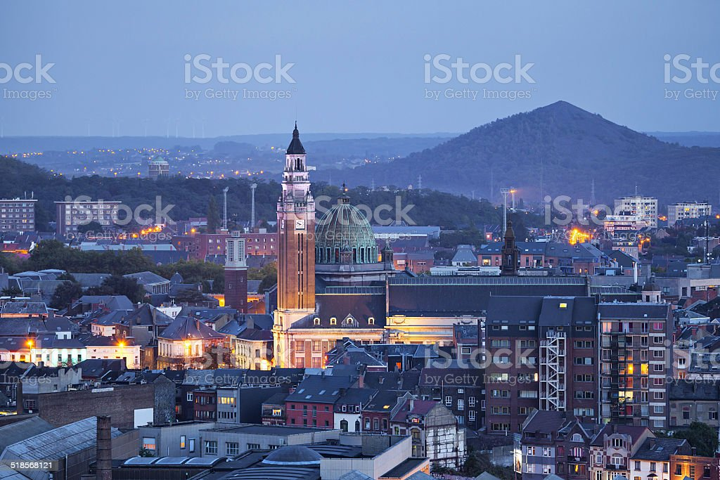 Aerial view on the centre of Charleroi stock photo