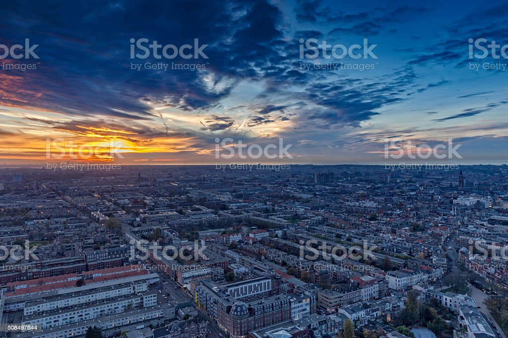 aerial view on The Hague's city centre at dusk stock photo