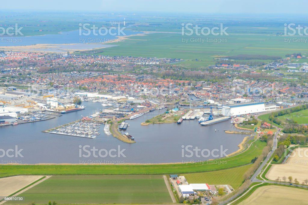 Aerial view on the town of Lemmer in Friesland, The Netherlands stock photo