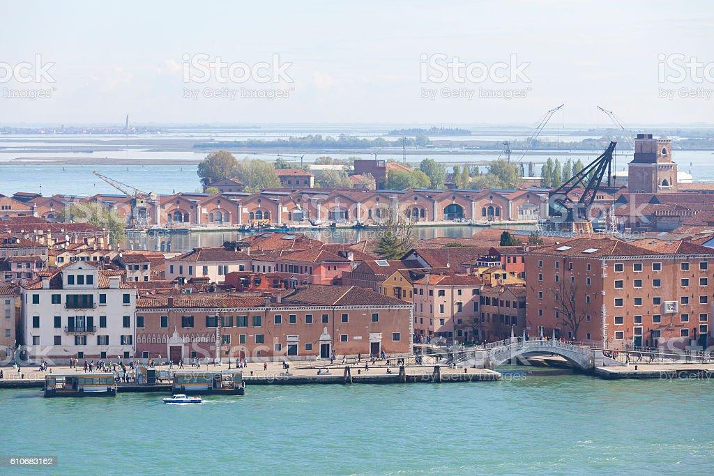 Aerial view on the Venetian lagoon, Venice, Italy stock photo