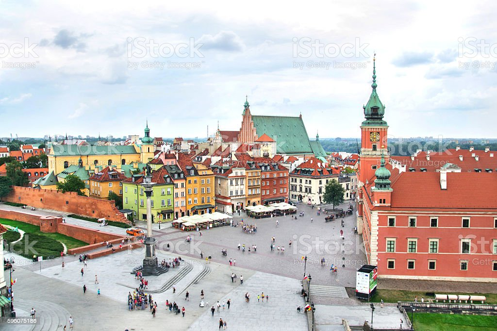 Aerial view on Warsaw  Old Town, Poland stock photo