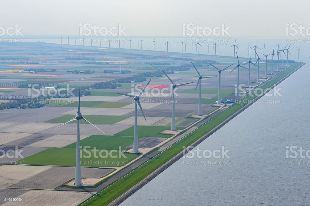 Aerial view on wind turbines on the coast stock photo
