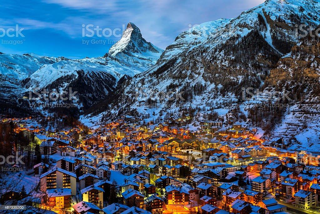 Aerial View on Zermatt Valley and Matterhorn Peak at Dawn stock photo