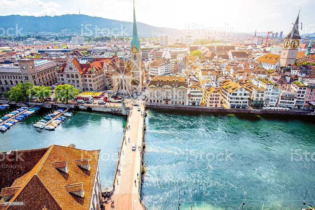 Aerial view on Zurich city in Switzerland stock photo