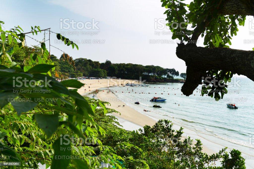 Aerial view onto Cozy beach in Pattaya stock photo