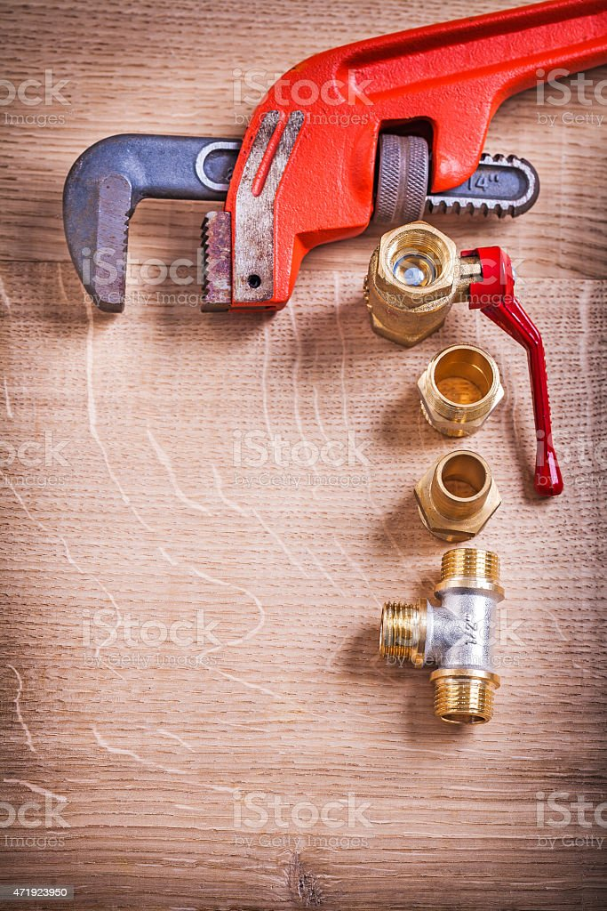 Aerial View Organized Copysoace Monkey Wrench And Brass Pipe Con stock photo
