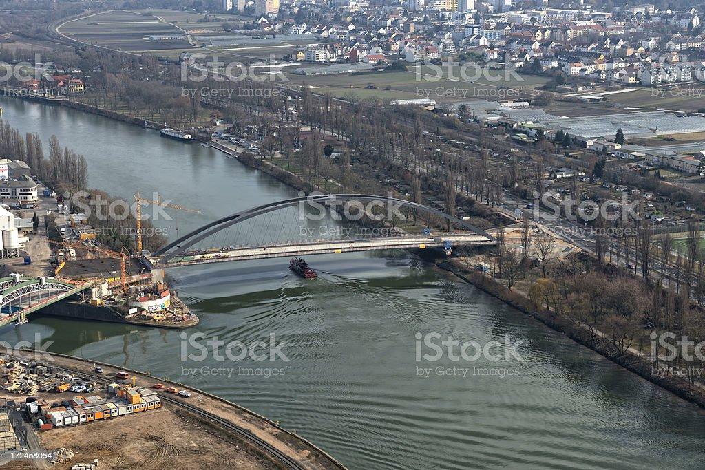Aerial view , Osthafenbrücke, Osthafen Frankfurt, Germany stock photo