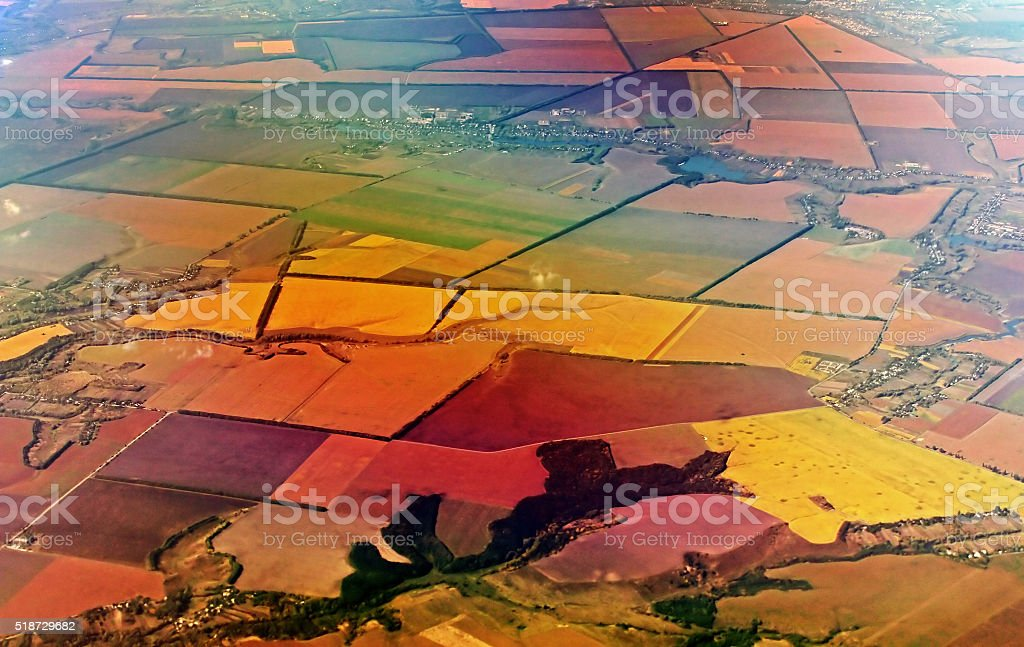 Aerial view over agricultural fields in Greece stock photo