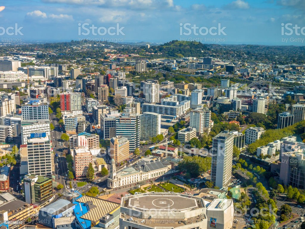 Aerial view over Auckland  Newmarket and mount Eden area stock photo