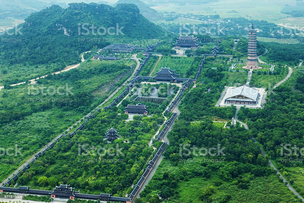 Aerial view over Bai Dinh Pagoda, Ninh Binh, Vietnam. stock photo