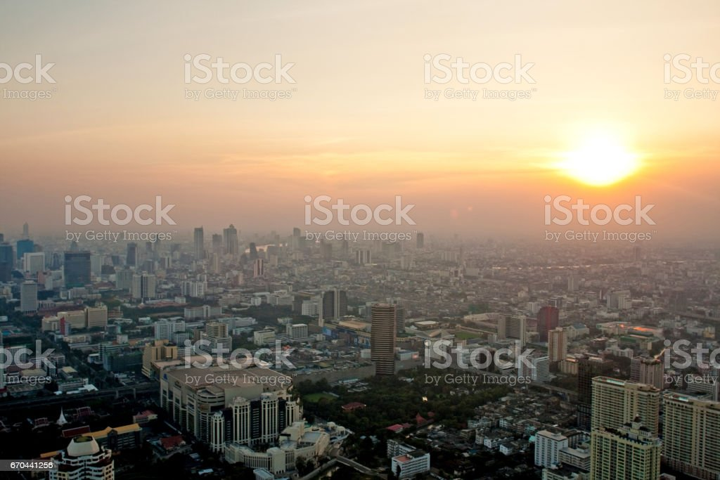 aerial view over Bangkok in sunset stock photo