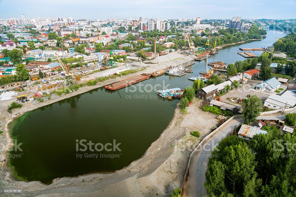 Aerial View over Barnaul, Siberia stock photo