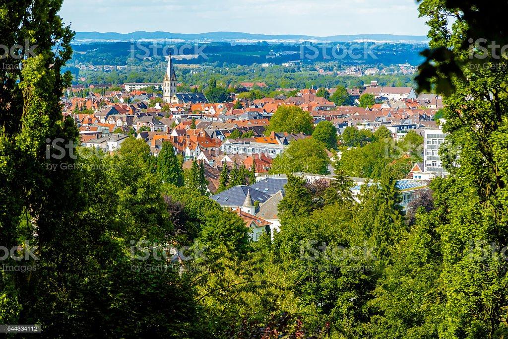 Aerial View over Bielefeld stock photo