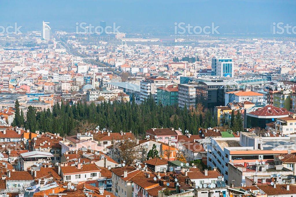 Aerial View over Bursa stock photo
