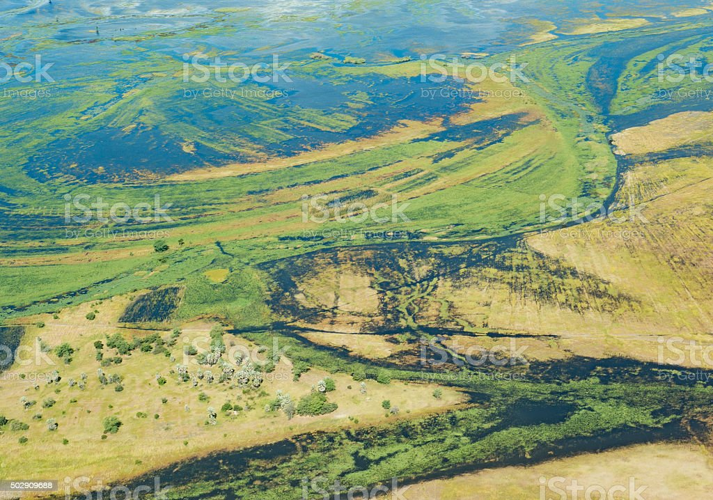 Aerial view over Chobe National Park in Botswana stock photo
