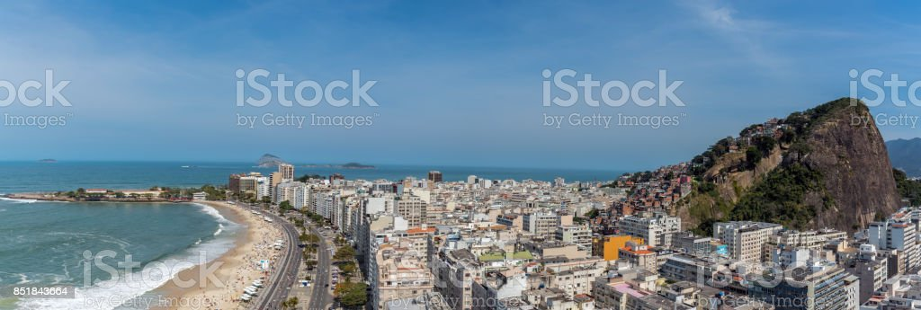 aerial view over copacabana with favela mountain and coastline stock photo