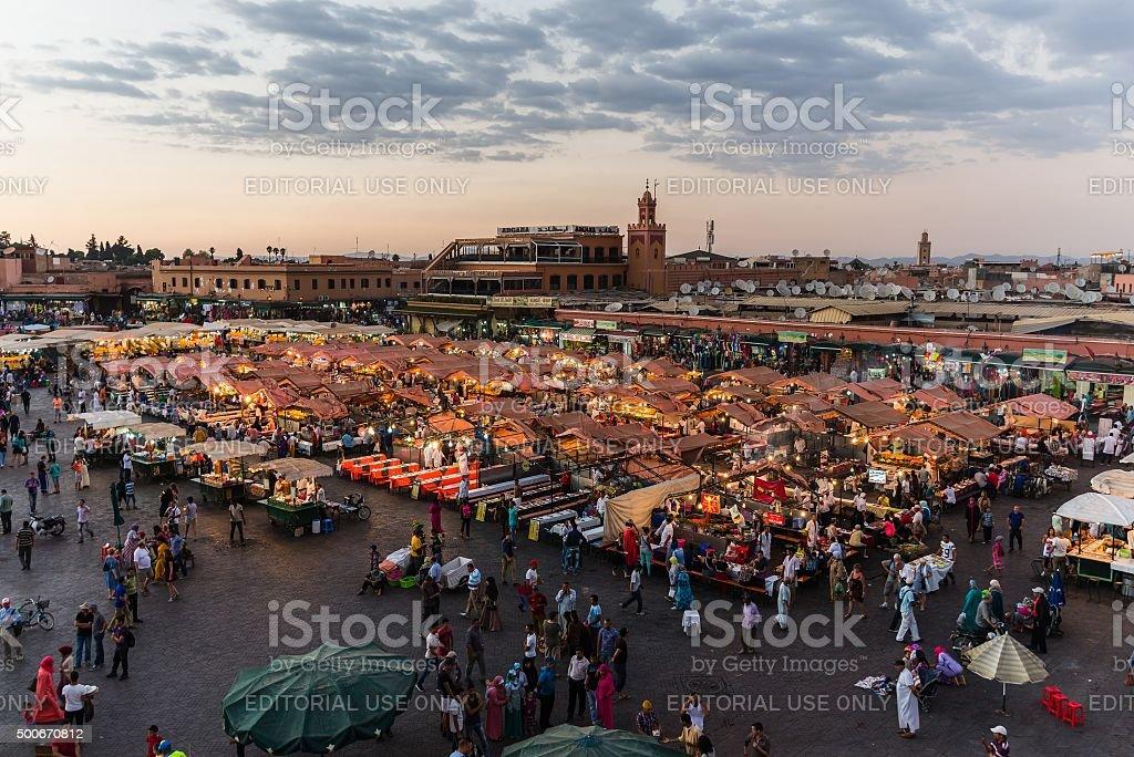 Aerial view over Djemaa el Fna stock photo