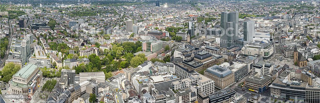 Aerial view over Frankfurt am Main Bourse Zeil panorama Germany stock photo