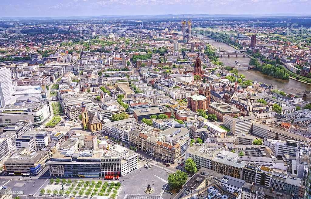 Aerial view over Frankfurt stock photo