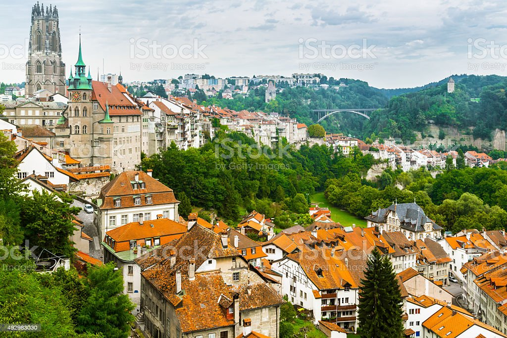Aerial View over Fribourg stock photo