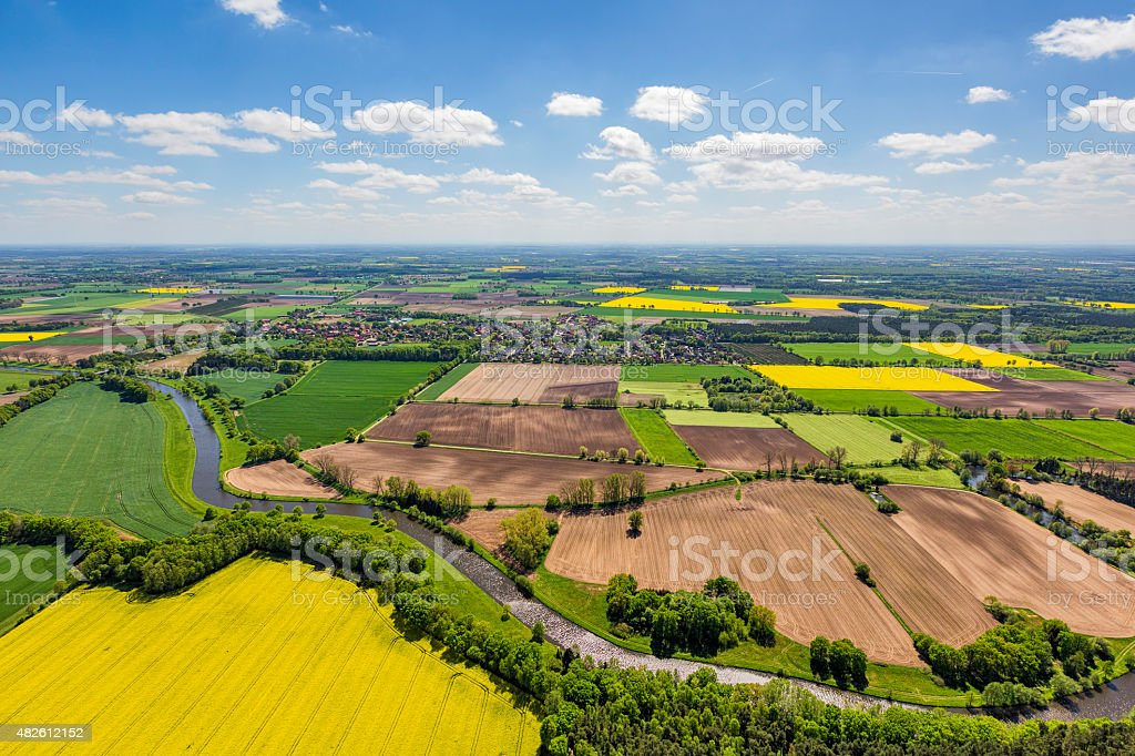 Aerial view over Germany patchwork farmland stock photo