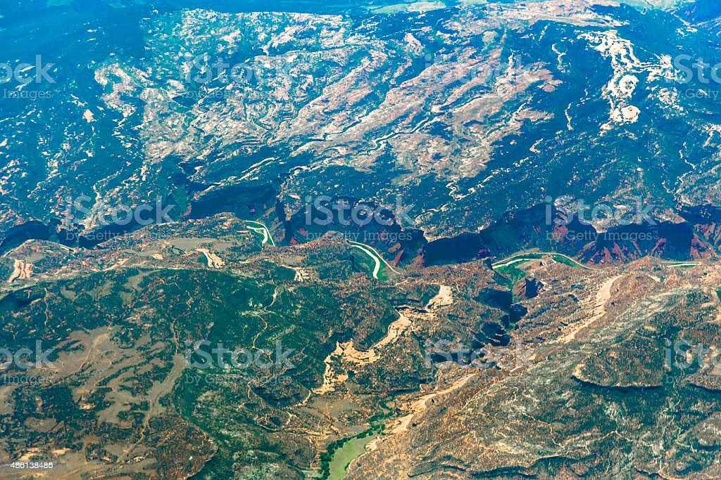 Aerial view over Grand Canyon stock photo