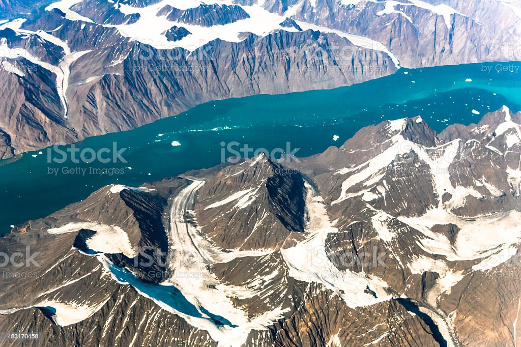 Aerial view over Greenland stock photo