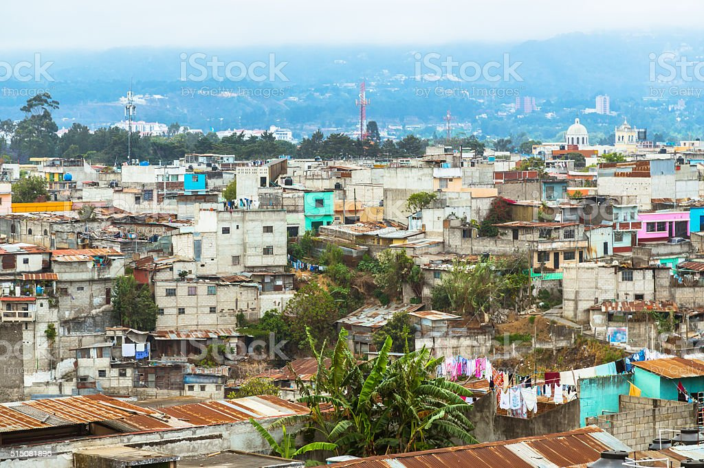 Aerial View over Guatemala City stock photo