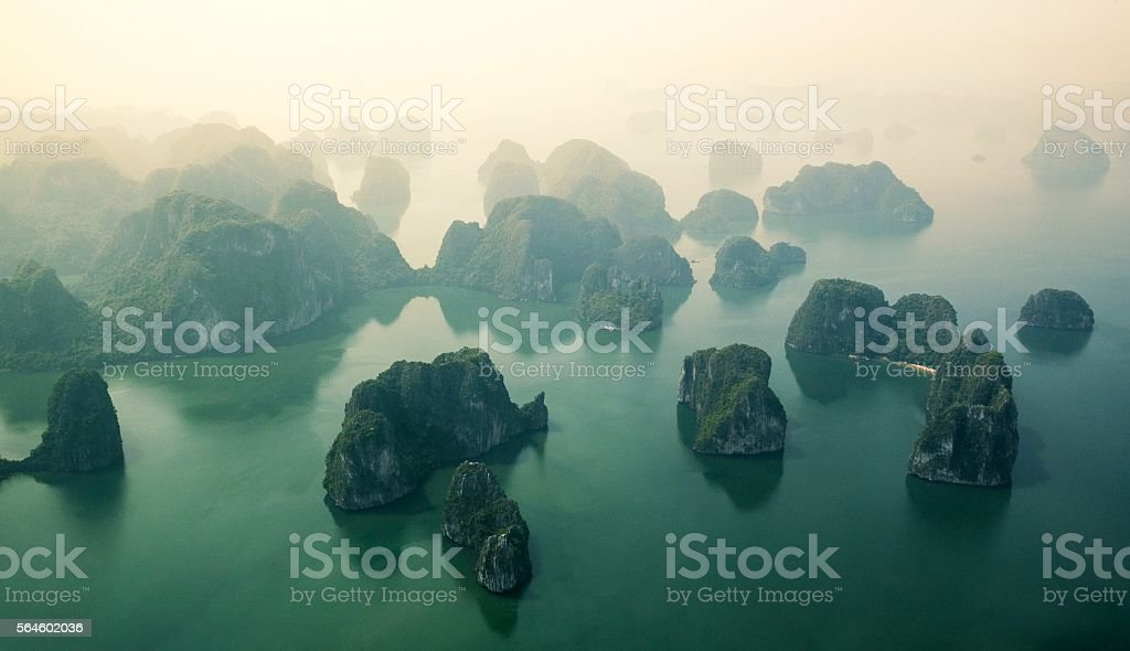 Aerial view over Halong bay, Vietnam stock photo