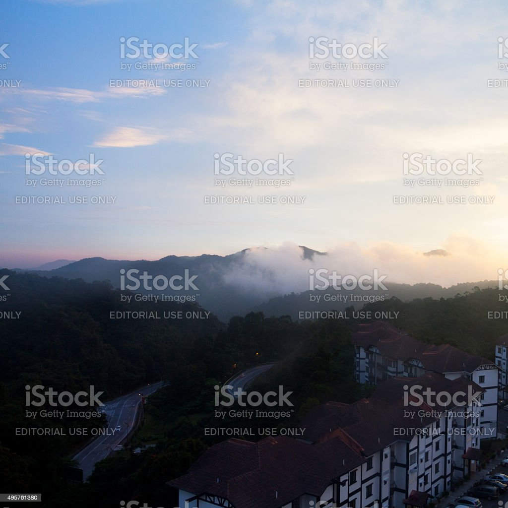 Aerial view over Heritage Hotel in Tanah Rata at sunset stock photo