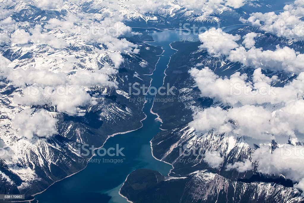 Aerial view over Kinbasket Lake, British Columbia, Canada stock photo