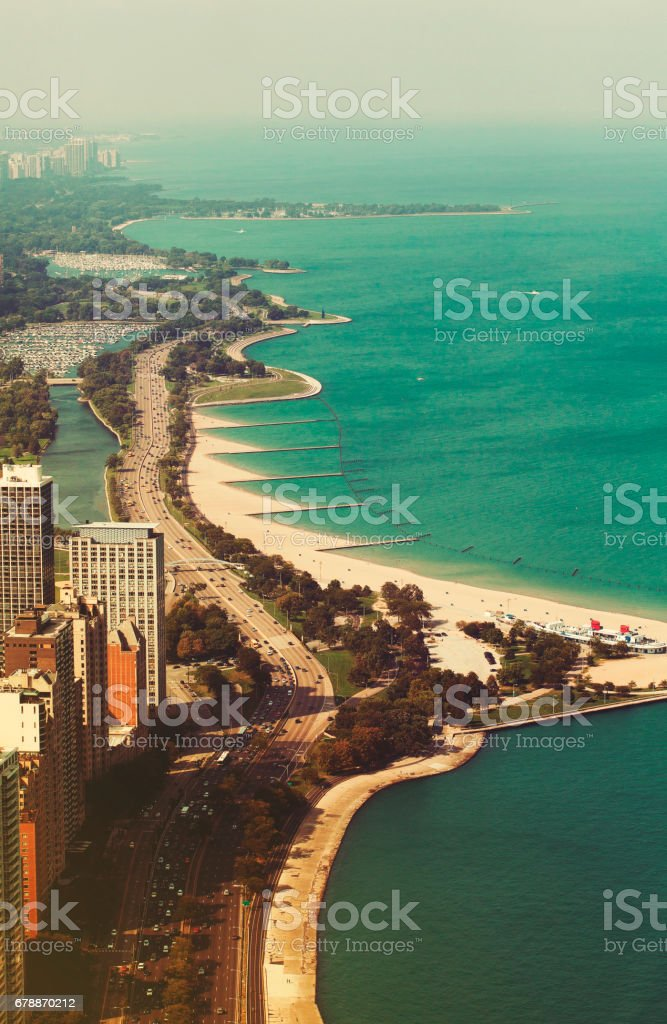 Aerial view over Lake Michigan, Chicago, Illinois, United States stock photo