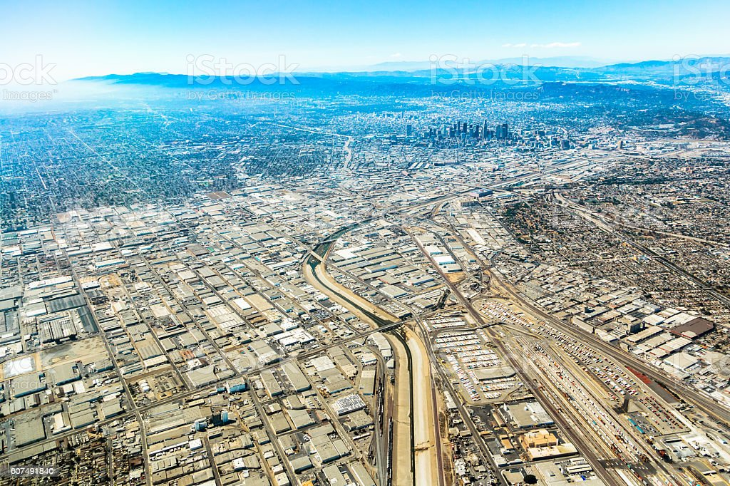 Aerial View over Los Angeles stock photo