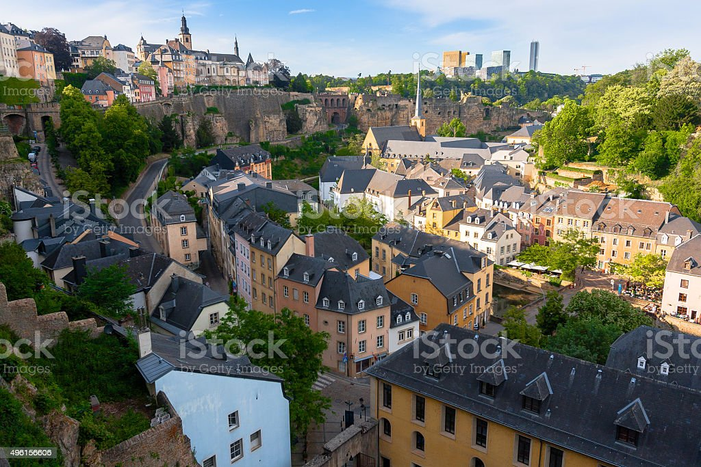 Aerial View over Luxembourg City stock photo