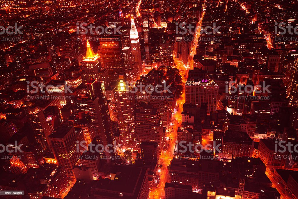 Aerial View over Manhattan Skyline in the night - NYC royalty-free stock photo