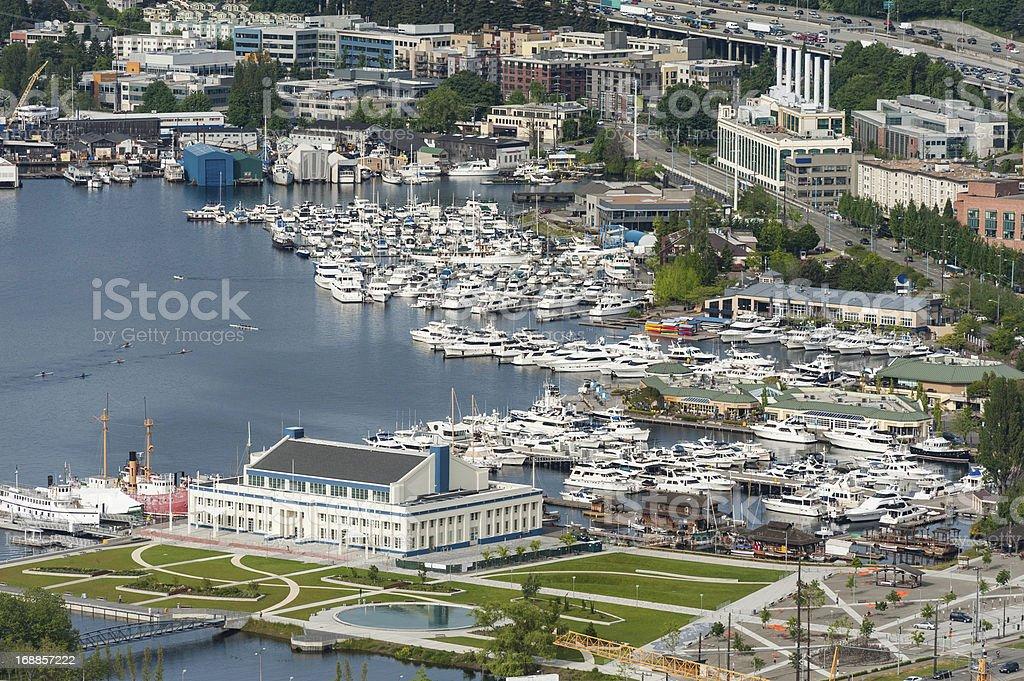 Aerial view over marina harbor Lake Union Seattle USA royalty-free stock photo