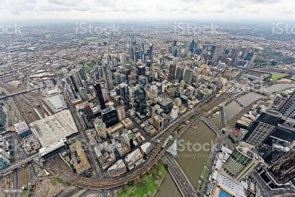Aerial view over Melbourne CBD under overcast skies (Victoria, Australia) stock photo
