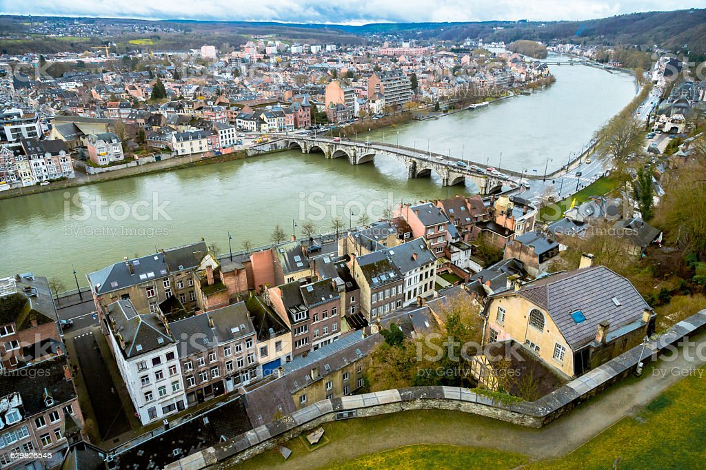 Aerial View over Namur stock photo