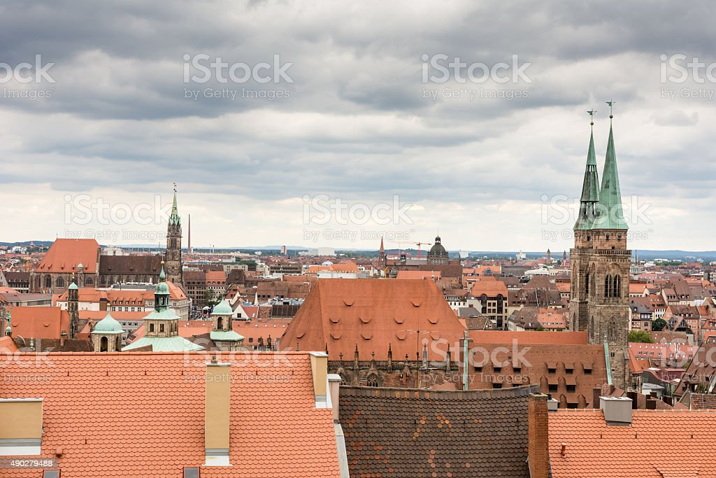 Aerial view over Nurnberg stock photo