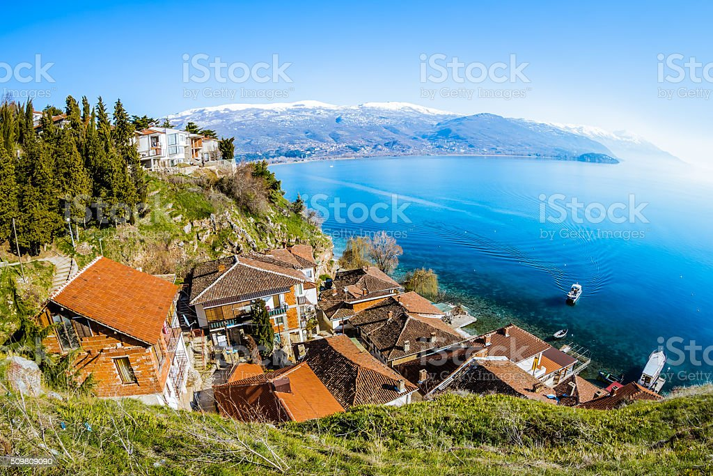 Aerial View over Ohrid stock photo